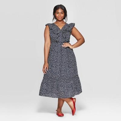 Women's Plus Size Floral Print Sleeveless Ruffle V-Neck Maxi Dress - Who What Wear™ Black