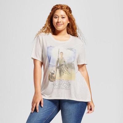Women's Plus Size Star Wars Rey Short Sleeve Graphic T-Shirt  - Ivory