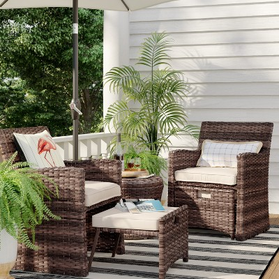 halsted 5pc wicker patio seating
