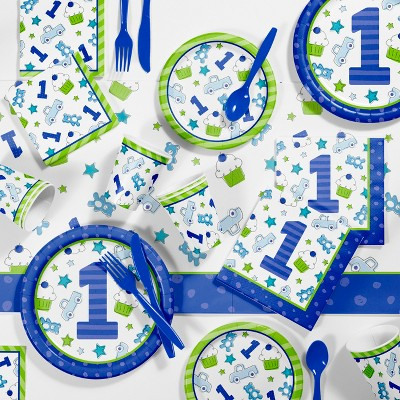 81pk Doodle 1st Birthday Boy Party Supplies Disposable Tableware Accessories Blue