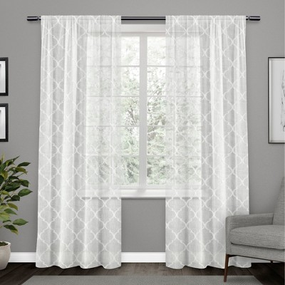 Aberdeen Sheer Woven Trellis Embellished Hidden Tab Top Curtain Panel Pair - Exclusive Home