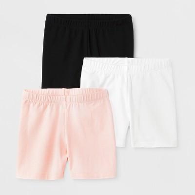 Girls' 3pk Tumble Shorts - Cat & Jack™ Black/White/Pink