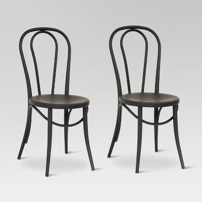 metal bistro chairs dark chocolate dining emery chair matte black set of 2 threshold target