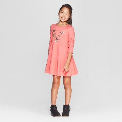 Girls' Long Sleeve Knit Dress - Cat & Jack™ Peach