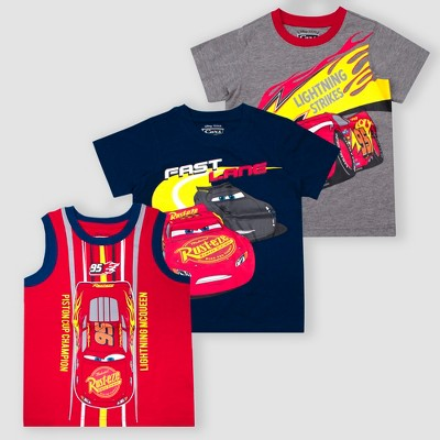 Toddler Boys' Disney Cars Lightning McQueen 3pk Short Sleeve T-Shirts - Red/Gray/Navy