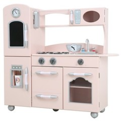 Wooden Play Kitchen Best Flooring For A Teamson Kids Retro Pink