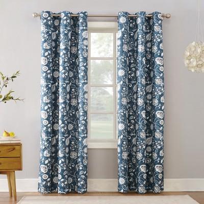63 x40 jorah botanical print thermal insulated grommet curtain panel blue sun zero