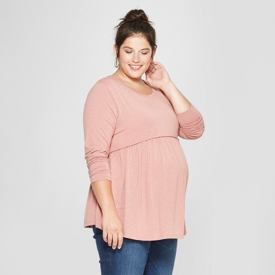 Maternity Long Sleeve Plus Size Relaxed Babydoll T-Shirt - Isabel Maternity Long Sleeve by Ingrid & Isabel™ Pink