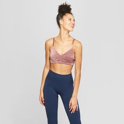 Women   velour twist back sports bra joylab also target rh