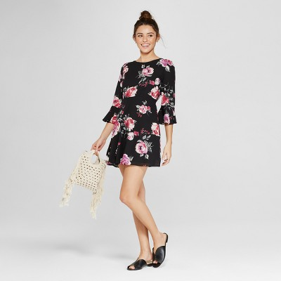 Women's Floral Print Short Sleeve Ruffle Shift Dress - Le Kate (Juniors') Black