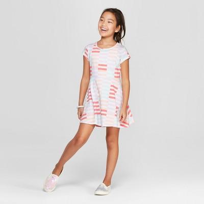Girls' Short Sleeve Stripe A Line Dress - Cat & Jack™ White