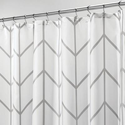 mdesign chevron print easy care fabric shower curtain 72 x 72 gray white