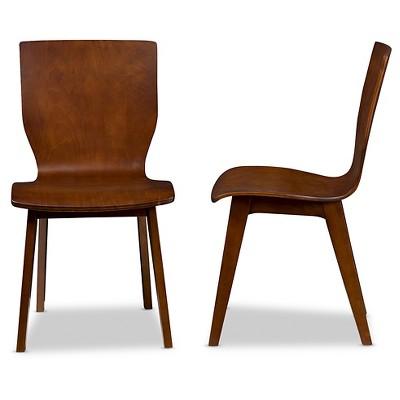 bentwood dining chair fishing stalking elsa mid century modern scandinavian style dark walnut bent wood chairs set of 2 baxton studio target