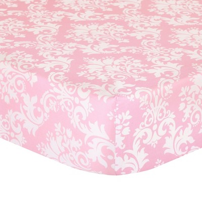 The Peanutshell Fitted Crib Sheet - Pink Damask