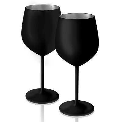 18oz 2pk Stainless Steel Colton Chalkable Goblets Matte Black - Artland