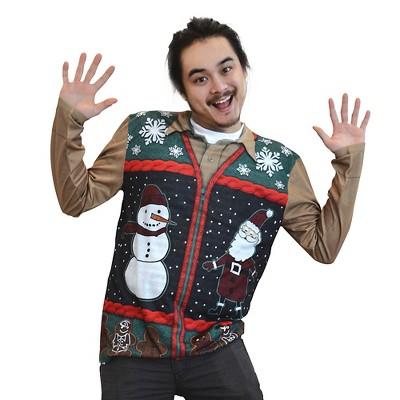 Men's Costume Ugly Christmas Zip Sweater Vest, Long Sleeve Tee