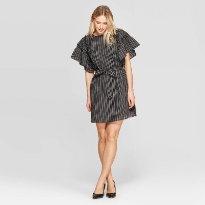 Women's Short Ruffle Sleeve Boat Neck Tie Waist Shift Dress - Who What Wear™