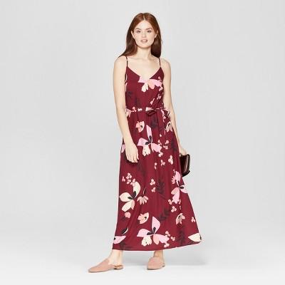 Women's Floral Print Sleeveless Maxi Dress - A New Day™ Burgundy
