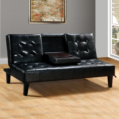 bianca futon sofa bed review pizza gif faux leather with drop down tray black home source target about this item