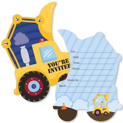big dot of happiness construction truck shaped fill in invitations baby shower or birthday party invitation cards with envelopes set of 12