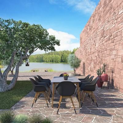 romney 9pc patio dining set with rectangular table with teak finish amazonia