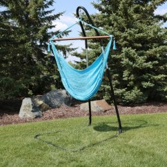 Hanging Chair Rope How Much Weight Can A Gaming Hold Caribbean Hammock And Stand Sky Blue Sunnydaze Decor Target