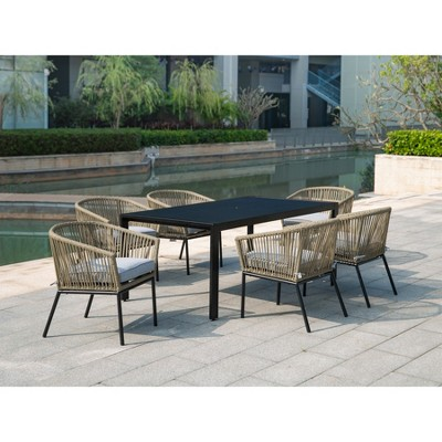 standish 7pc patio dining set natural gray project 62