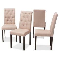 Dining Chairs Set Of 4 Target Hospital Lounge Gardner Modern And Contemporary Finished Fabric Upholstered Chair Beige Dark Brown Baxton Studio