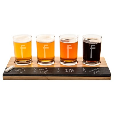 Cathy's Concepts® 4pc Monogram Bamboo & Slate Craft Beer Tasting Flight A-Z