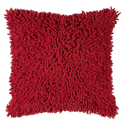 18 x18 shag square throw pillow red rizzy home