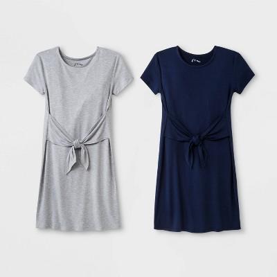 Girls' Tie Front 2pk Dress - art class™ Gray/Navy