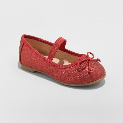 Toddler Girls' Ani Glitter Ballet Flats - Cat & Jack™ Red