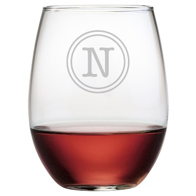 Susquehanna 21oz Glass Monogram Stemless Wine Glasses - N - Set of 4