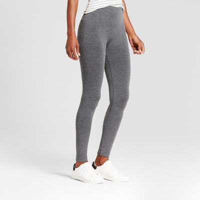 Women's High Waist Twill Seamless Leggings - A New Day™ Charcoal Heather Gray
