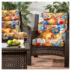 High Back Wicker Chair Cushions Best Massage Set Of 2 Outdoor Aloha Red Greendale Home Fashions Target