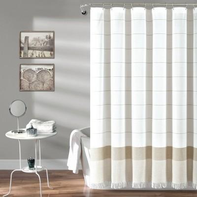 striped yarn dyed tassel fringe shower curtain taupe white lush decor