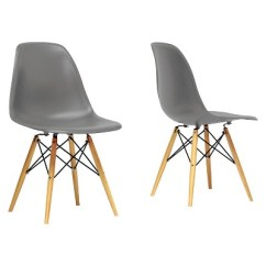 Mid Century Modern Plastic Chairs Stackable Wooden Azzo Shell Chair Gray Set Of 2 Baxton Studio