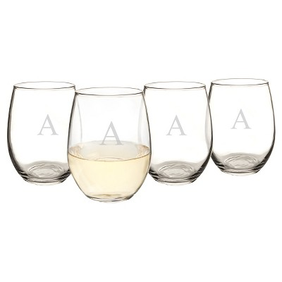 Cathy's Concepts 21oz 4pk Monogram Stemless Wine Glasses A-Z