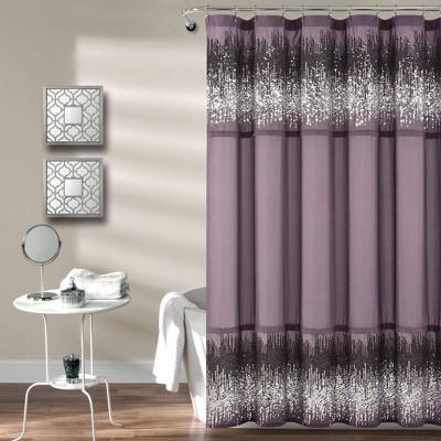 single shimmer sequins shower curtain purple gray lush decor