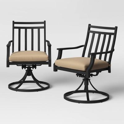 fairmont 2pk metal swivel rocking patio dining chair tan threshold