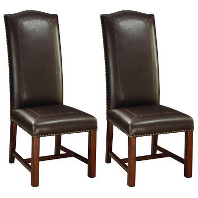 brown leather high back dining chairs adirondack chair for sale set of 2 arched cherry target treasure trove