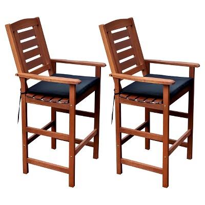 miramar set of 2 hardwood outdoor bar height chairs cinnamon brown black corliving