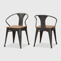 Tolix Side Chair Glider Swivel Mechanism Set Of 2 Henri Finished Steel Stackable Chairs Brown Baxtonstudio