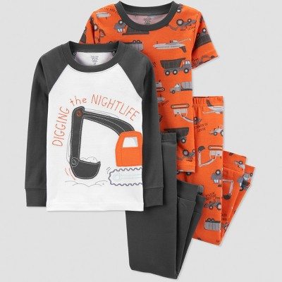 Baby Boys' 4pc Construction Pajama Set - Just One You® made by carter's Orange/Gray