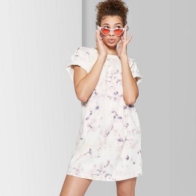 Women's Short Sleeve Crewneck T-Shirt Dress - Wild Fable™ Ivory