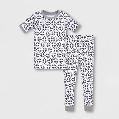 Burt's Bees Baby® Toddler Girls' 2pc Stamped Hearts Organic Cotton Pajama Set - Gray/White