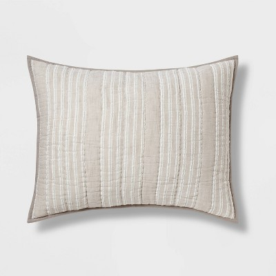 gray stitched stripe sham standard threshold