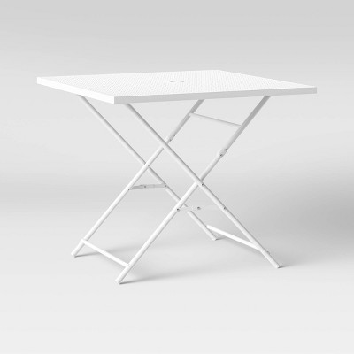 32 metal punched square patio folding table white room essentials