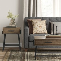 Living Room Side Table Beige Armchair For Corinna Angle Leg Wood Threshold Target