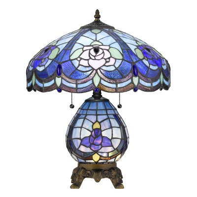 60W X 2 Tiffany Table Lamp With 7W Night Light Blue (Includes Energy Efficient Light Bulb) - Cal Lighting